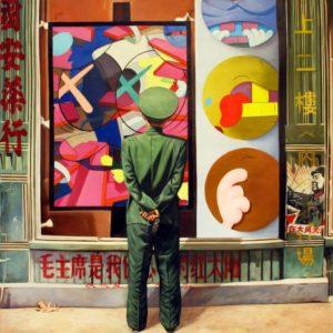 Rockwell meet Yue Minjun (red army) 2, 2013, 120 x 120 cm Technique mixte sur toile, signé et daté au dos Estimation : 16 000 - 18 000 $ Prix Premium : 43 750 $ Fine Art Auctions Miami, 18/02/2014