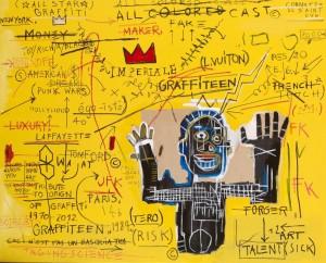 Ceci n'est pas un Basquiat 2, 2011,  128x160cm Technique mixte sur toile, signé et daté au dos Estimation : 4 000 - 6 000 € Prix premium : 19 306 € Cornette de Saint Cyr, Paris, 21/10/2012