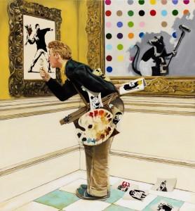 Rockwell meet urban art 1, 2013,  128x119cm,  Technique mixte sur toile, signé et daté au dos Estimation : 10 000 - 15 000 € Prix premium : 28 750 € Cornette de Saint Cyr , Bruxelles, 27/05/2013